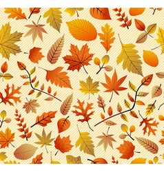 Retro autumn season leaves seamless pattern vector