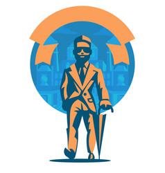 rich man with an umbrella vector image