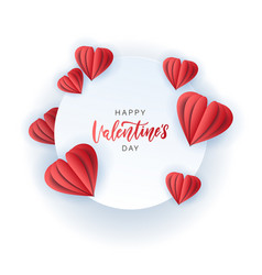 saint valentine s day greeting card with red paper vector image