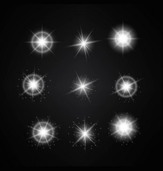set of different white lights different stars vector image