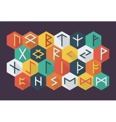 Set of elder futhark runes in trend flat style vector