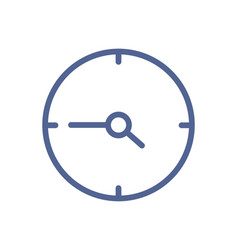 Simple line art icon clock with hour and minute vector