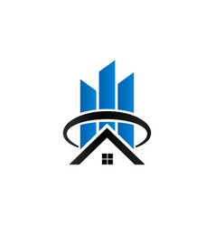 sky scrapper and house logo vector image