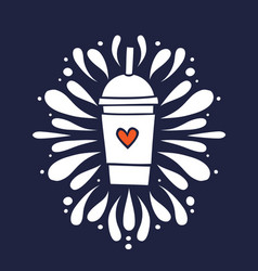 smoothie shake cup with heart hand drawn doodle vector image