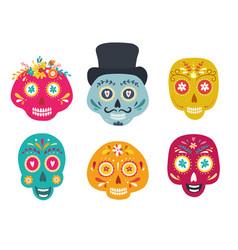 sugar skulls woman and man dia de los muertos vector image
