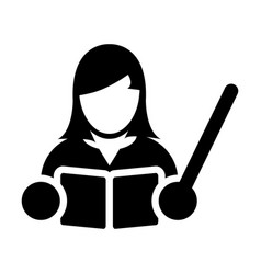 teacher icon female person with book and pointer vector image