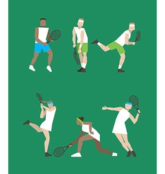 Tennis figure peoples with tennis racket set vector image