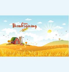 Thanksgiving autmn landscape with farm vector