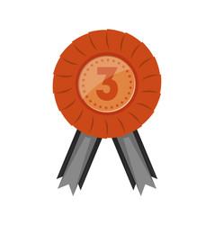 Third place red badge with ribbon vector