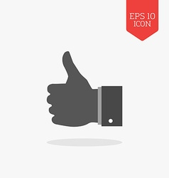 Thumb up like icon Flat design gray color symbol vector image