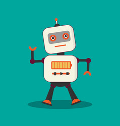 Vintage robot on green background vector