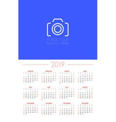 Wall calendar template for 2019 year week starts vector
