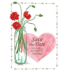 Wedding invitation with mason jar and poppy vector