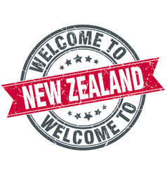 welcome to new zealand red round vintage stamp vector image