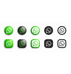Whatsapp modern 3d and flat icons set vector