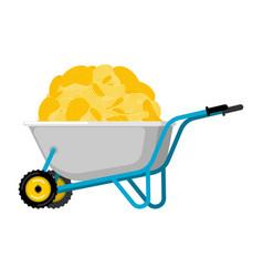 Wheelbarrow and potato chips fastfood fried vector