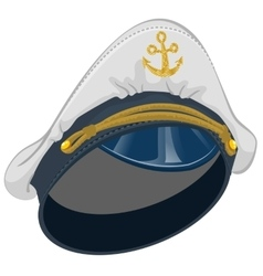 White captain cap with anchor vector