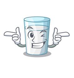 Wink protein rich milk in cartoon glass vector