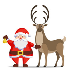 winter card with santa claus and reindeer vector image