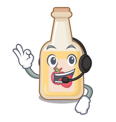 With headphone bottle apple cider above cartoon vector