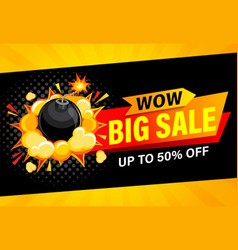 wow big sale banner up to 50 percent off vector image