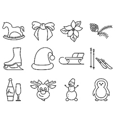 Black and white winter icons vector image vector image