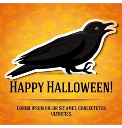 Happy halloween greeting card with black raven vector image