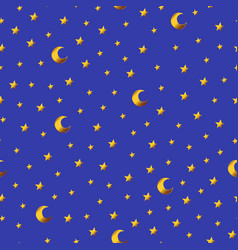seamless pattern with gold cartoon stars and vector image
