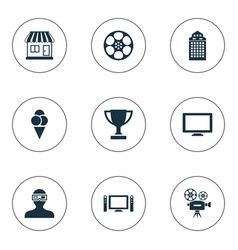 set of simple film icons vector image vector image