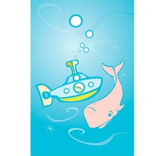 Submarine and Whale vector image vector image