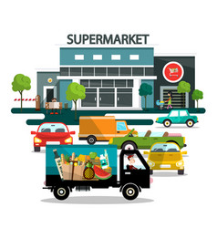 supermarket building with cars vector image