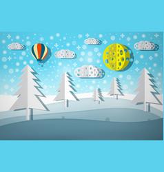 winter landscape paper cut nature scene vector image vector image