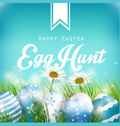 beautiful easter blue background vector image vector image