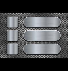 oval and square brushed metal plates on perforated vector image
