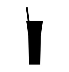 silhouette cocktail straw beverage icon vector image
