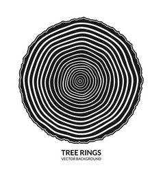 Tree rings and saw cut tree trunk symbol vector
