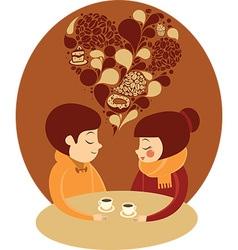 Young couple enjoying coffee together vector image