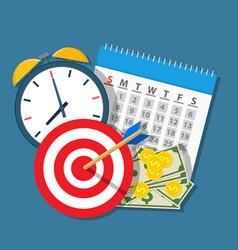 alarm clock calendar target money vector image vector image