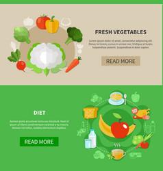 healthy eating banner set vector image