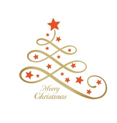 Merry Christmas tree stylized line art vector image vector image