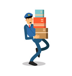 postman in blue uniform carrying heavy parcels vector image