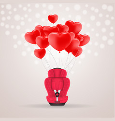 red child car seat with red baloons in shape of vector image vector image