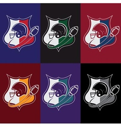 set of vintage american football crests vector image