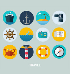 travel icons flat design of icons vector image