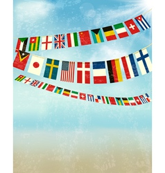 Vintage background with world bunting flags vector image