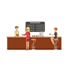 Woman Sitting At The Counter On Bar Chair At The vector image