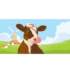 Cows and mill with clouds vector image vector image