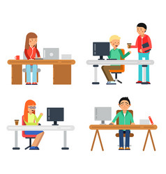 freelancers male and female at computer workspace vector image vector image
