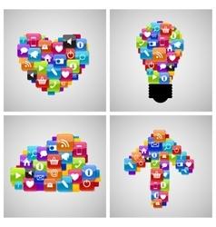Glass Button Icon Set in Heart Bulb Cloud Arrow vector image vector image