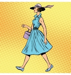 Retro lady in summer dress and hat vector